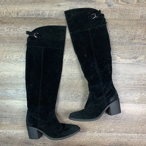 Qupid Knee High Boots Black 9 Soft Faux Suede
